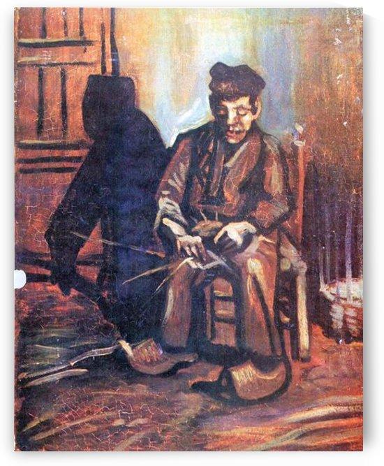 Bauer, sitting in and making basket by Van Gogh by Van Gogh