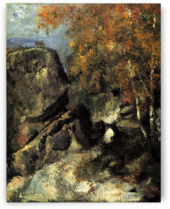Felsen im Wald von Fontainbleau by Paul Cezanne