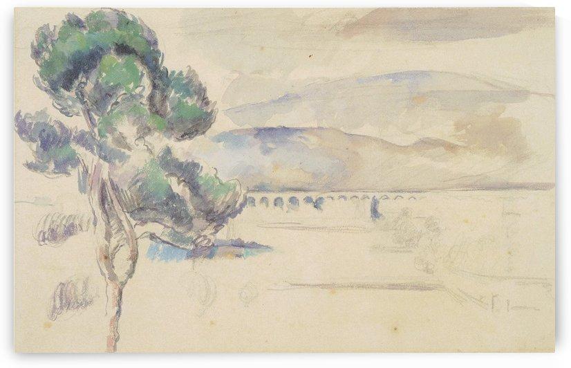 Das Tal des Arc mit Viadukt und Pinie by Paul Cezanne