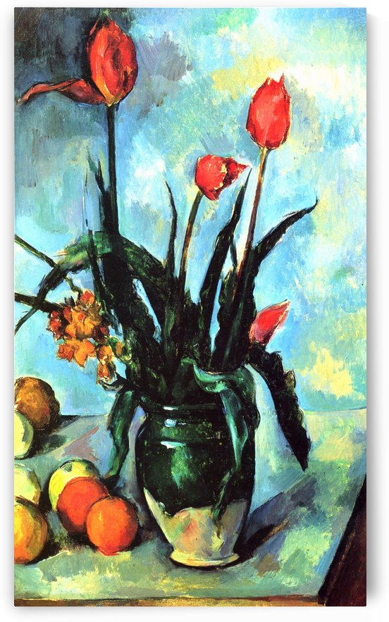 Stilleben,Vase mit Tulpen by Paul Cezanne