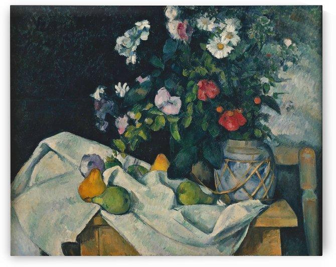 Fleurs dans un pot de gingembre et fruits by Paul Cezanne