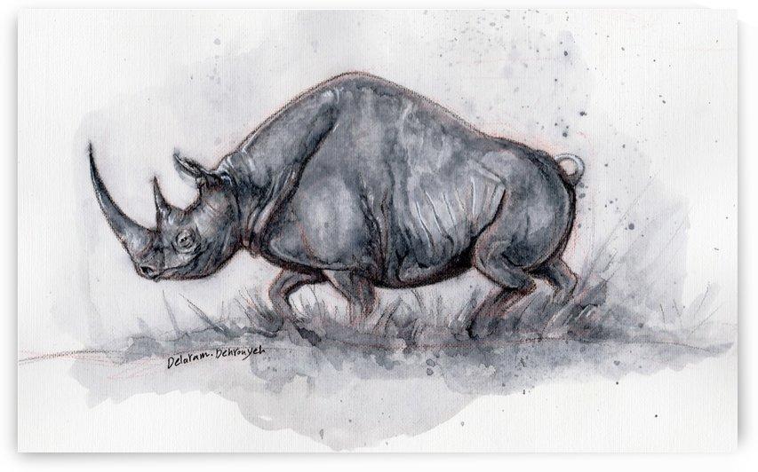 Rhino ink painting by Delaram dehrouyeh