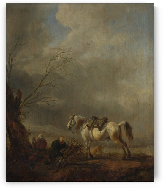 A White Horse, and an Old Man binding Faggots by Philips Wouwermans