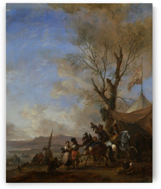 Cavalrymen halted at a Sutlers Booth by Philips Wouwermans