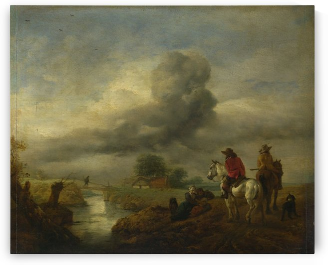 Two Vedettes on the Watch by a Stream by Philips Wouwermans