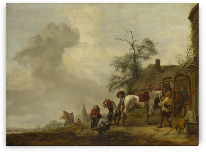 A Horse being Shod outside a Village Smithy by Philips Wouwermans