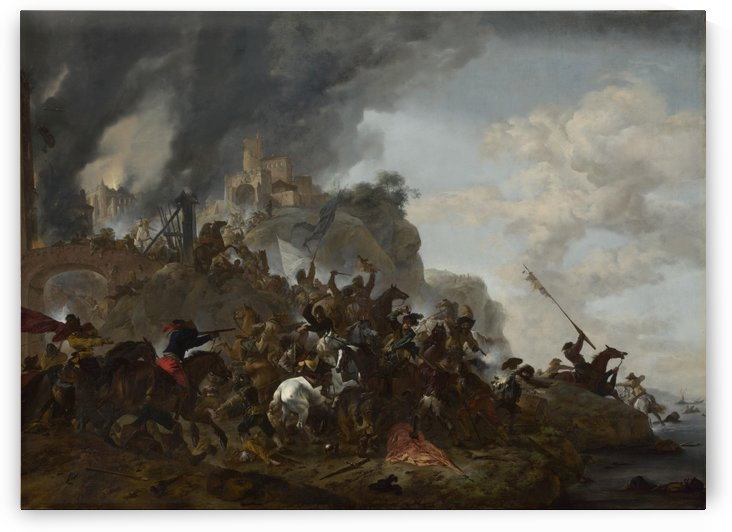 Cavalry making a Sortie from a Fort on a Hill by Philips Wouwermans