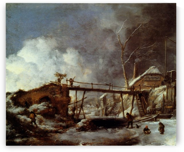 Wouwerman winterlandschaft-holzsteg by Philips Wouwermans