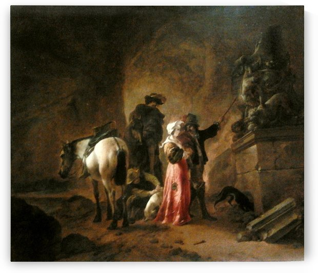 Wouwerman Travellers in a grotto by Philips Wouwermans