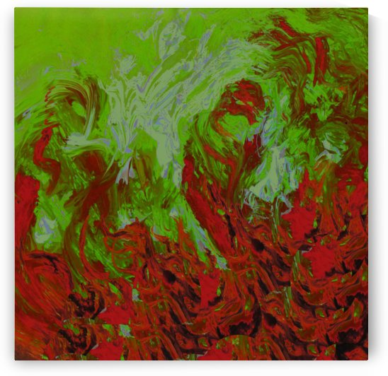 Abstract Green And Red by Pracha Yindee