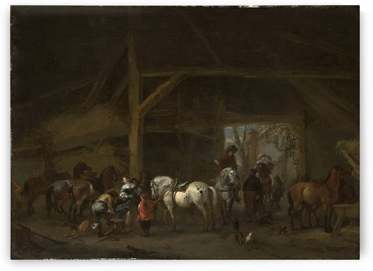 Een paardenstal by Philips Wouwermans