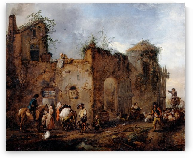 Courtyard with a Farrier shoeing a Horse by Philips Wouwermans