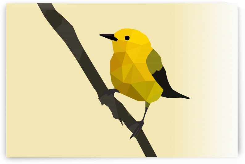 Prothonotary Warbler LOW POLY ART by rizu_designs