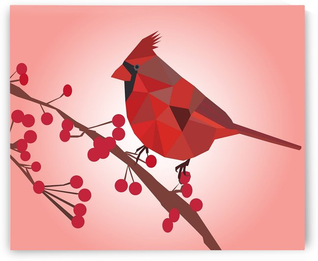 Northern Cardinal Bird LOW POLY ART  by rizu_designs