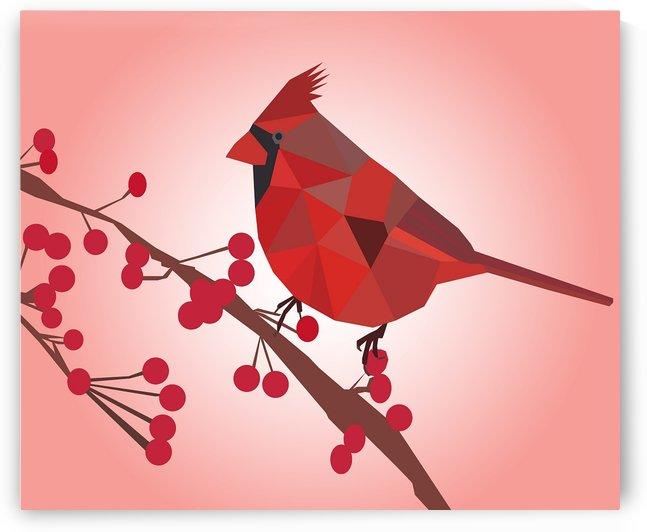 Northern Cardinal Bird LOW POLY ART  by Rizwana Khan