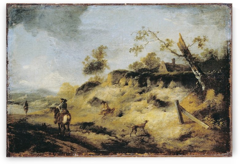 Sandbank with Travellers by Philips Wouwermans