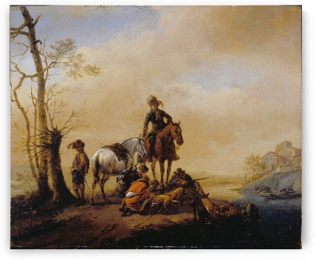 Halt of Sportsmen by Philips Wouwermans