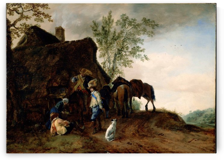 Halt of Cavaliers at an Inn by Philips Wouwermans