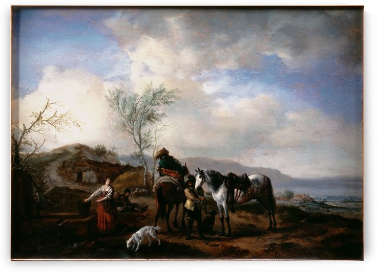 Two Horsemen near a Fountain by Philips Wouwermans