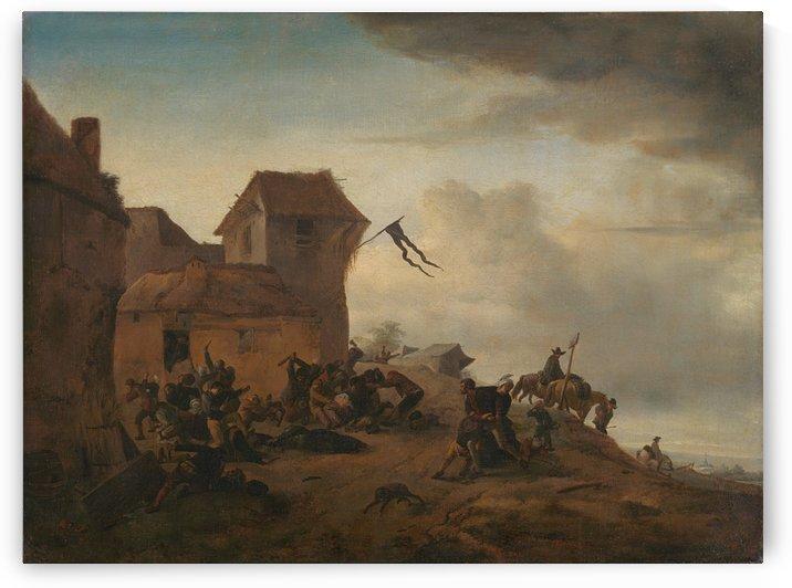 Vechtende boeren bij een dorp by Philips Wouwermans