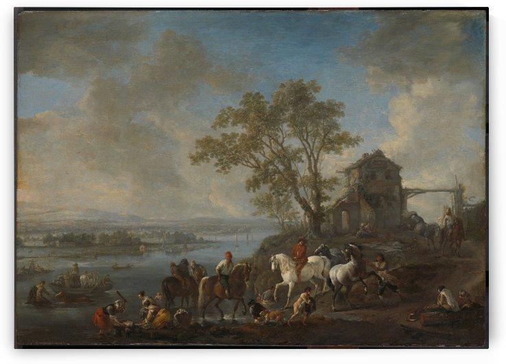 Paardenwed bij een rivier by Philips Wouwermans