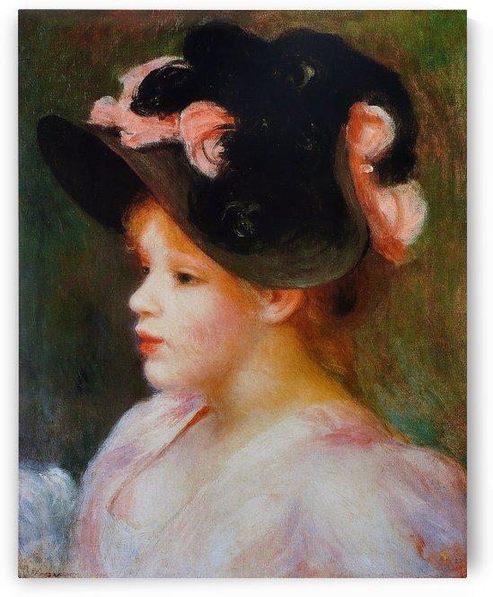 Jeune Fille au chapeau rose et noir by Pierre Auguste Renoir
