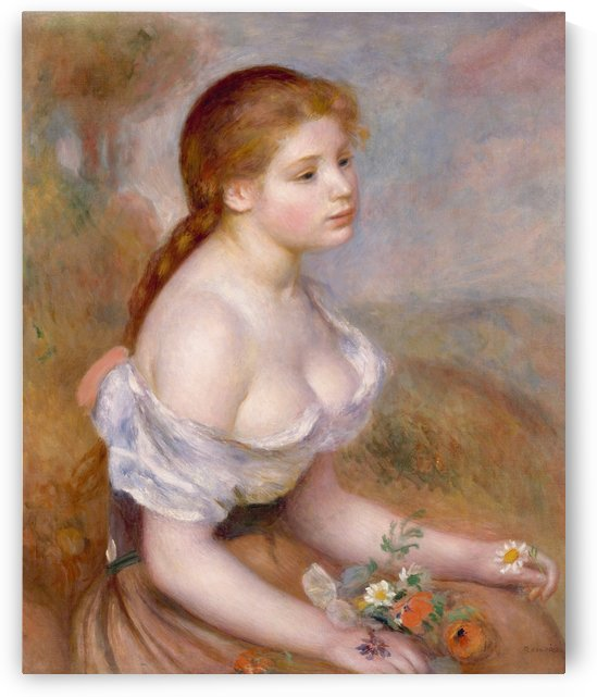 Young girl with dasies by Pierre Auguste Renoir