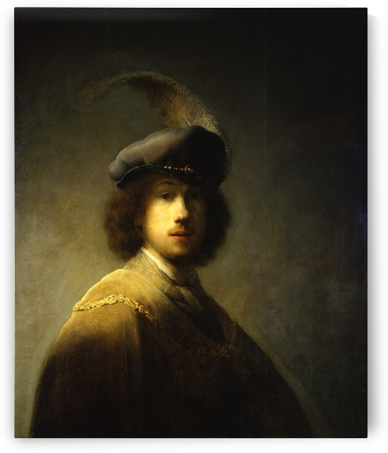 Self-portrait with plumed beret by Rembrandt