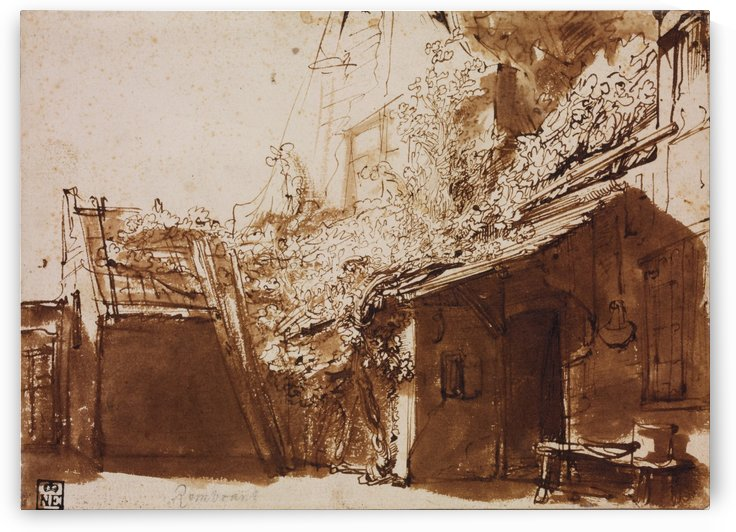 Dutch Farmhouse in Light and Shadow by Rembrandt