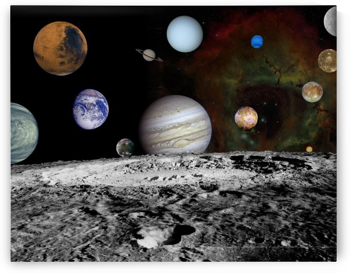 Montage of the planets and Jupiters moons. by StocktrekImages