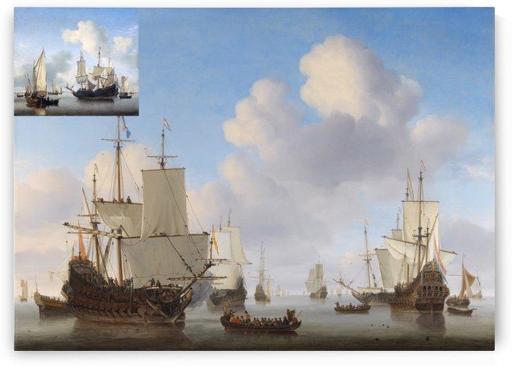 Schepen onder de kust voor anker by Willem van de Velde II