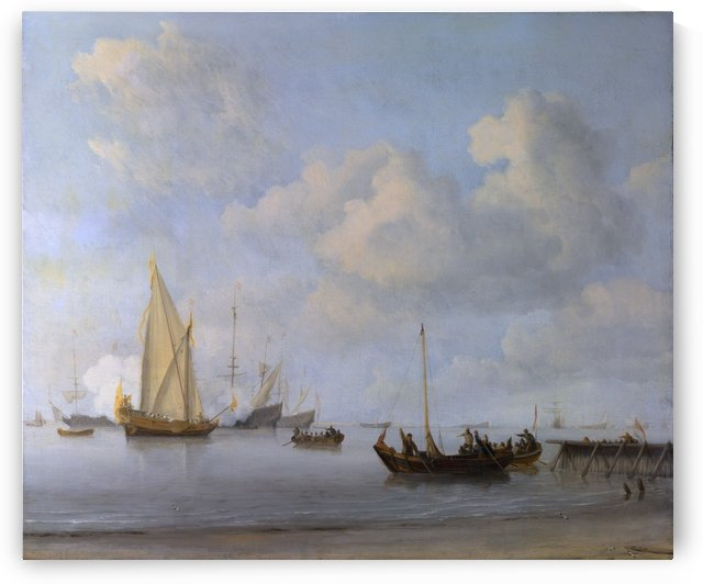 Boats pulling out to a Yacht in a Calm by Willem van de Velde II
