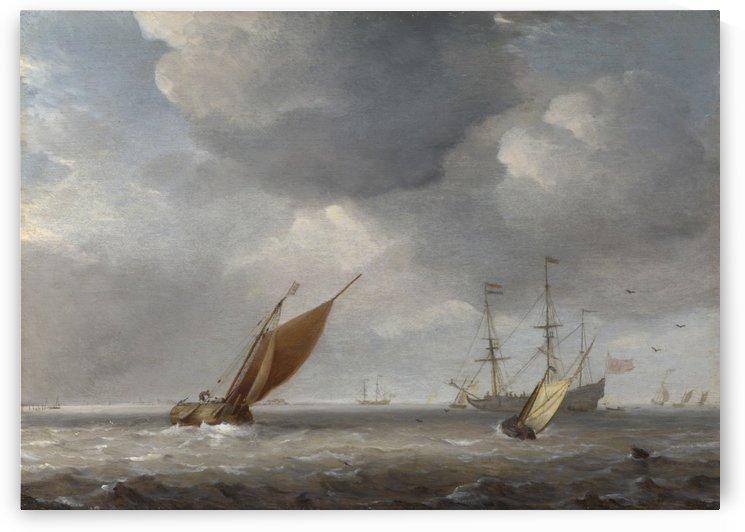 Two Small Vessels and a Dutch Man by Willem van de Velde II