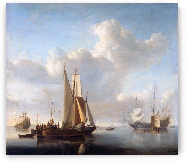 Schepen voor de kust by Willem van de Velde II