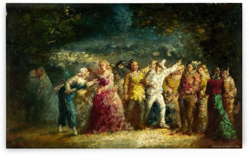 Torchlight Procession by Adolphe Monticelli