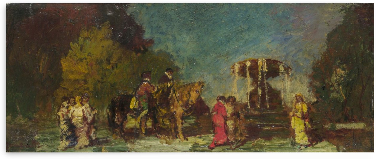 Fountain in a Park by Adolphe Monticelli