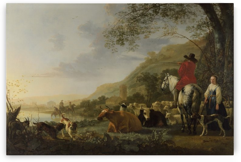 A Hilly Landscape with Figures by Aelbert Cuyp