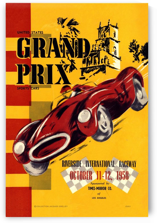 Us Grand Prix Sports Riverside International Raceway 1958 by RacingCarsPosters