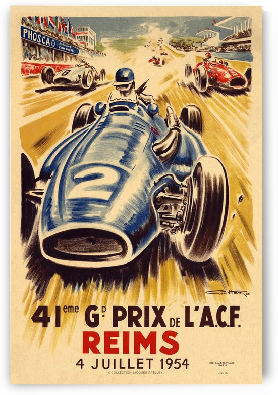 41 St Grand Prix De L'ACF Reims 1954 by RacingCarsPosters