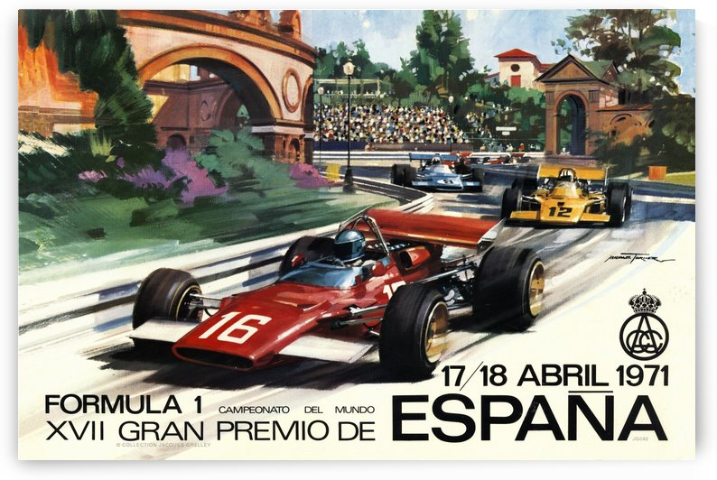Spain Formula 1 XVII Grand Prix Espana Gran Premio  April 1971 by RacingCarsPosters