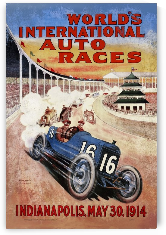 Indianapolis Worlds International Auto Races 1914 by RacingCarsPosters