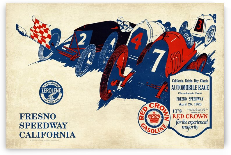 California Raisin Day Classic Automobile Race Championship Event Fresno Speedway 1923 by RacingCarsPosters