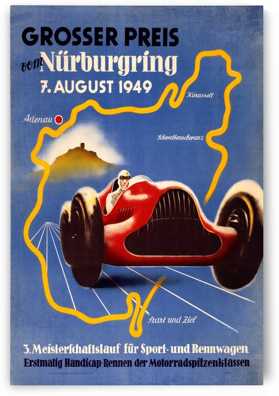German Grand Prix Grosser Preis Vom Nurburgring 1949 by RacingCarsPosters