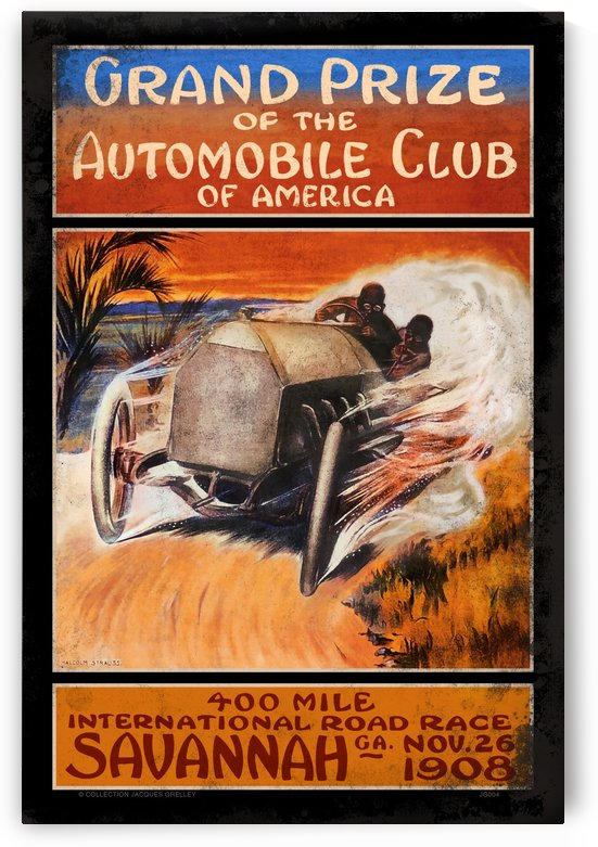 Savannah 400 Mile International Road Race Grand Prize Automobile Club of America Defect Black 1908 by RacingCarsPosters