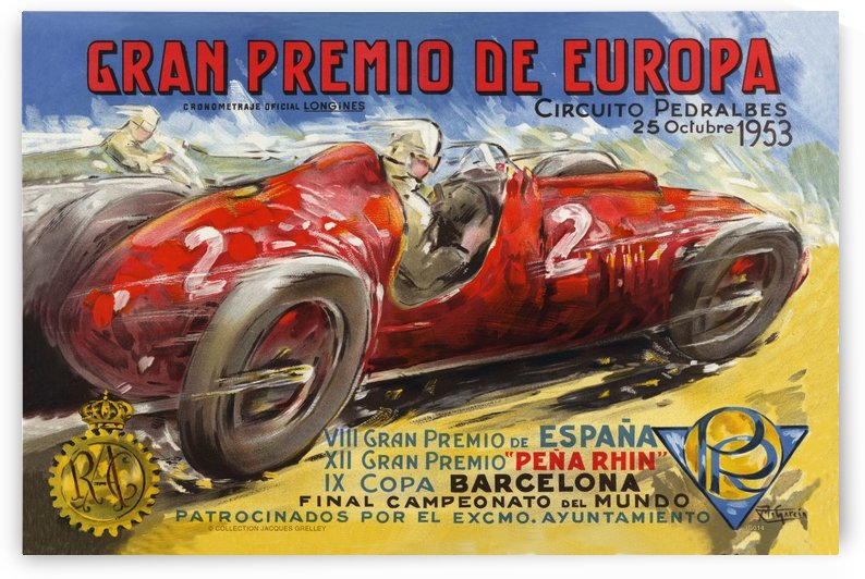 Gran Premio De Europa VII Espana XII Pena Rin IX Barcelona 1953 by RacingCarsPosters