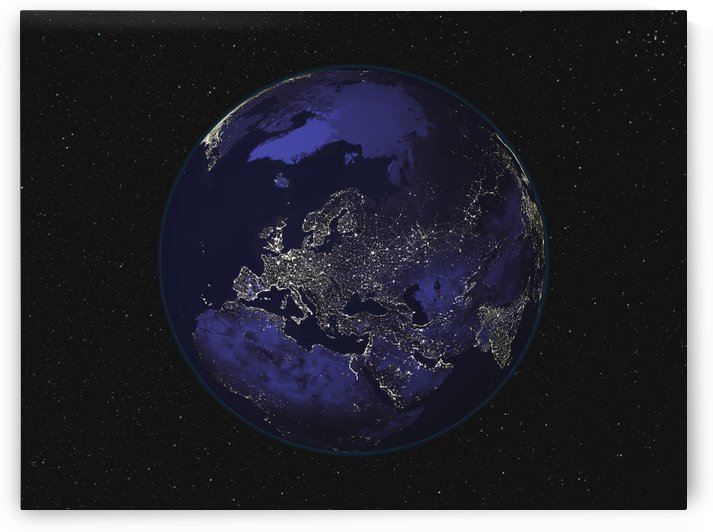 Full Earth at night showing city lights centered on Europe. by StocktrekImages