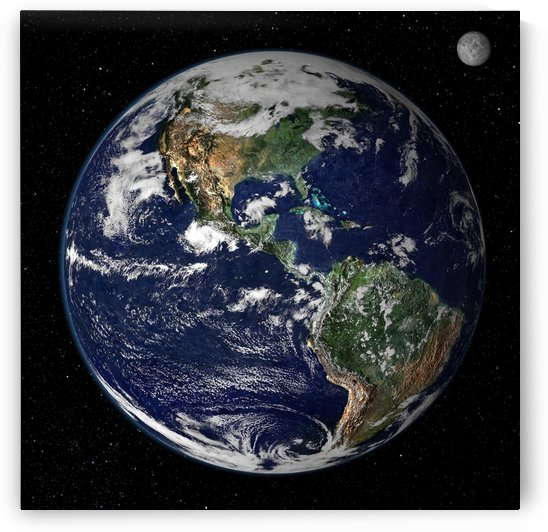 Full Earth showing North and South America. by StocktrekImages
