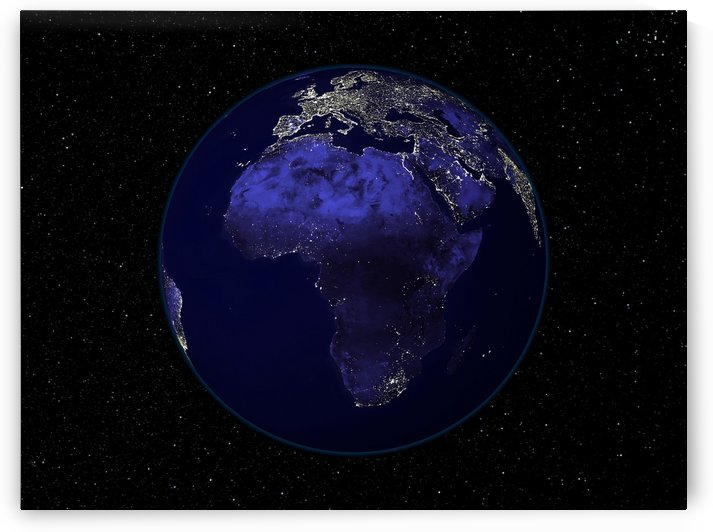 Full Earth at night showing Africa and Europe. by StocktrekImages