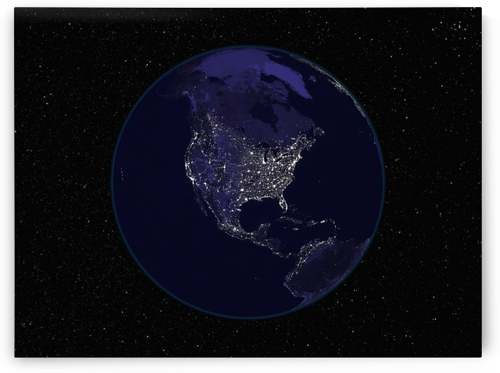 Full Earth at night showing city lights centered on North America. by StocktrekImages