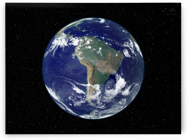 Fully lit Earth centered on South America. by StocktrekImages
